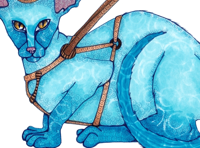 11 - Seeing Eye Cat, Copics, Close-Up Detail