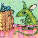 "Bilbies and Corn Cob Pipe, Copic Markers, 9"" x 6"""