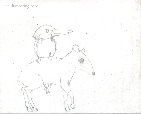 3 - Kingfisher and Mouse Deer Sketch3