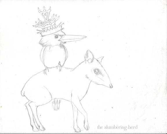 4 - Kingfisher and Mouse Deer Sketch4