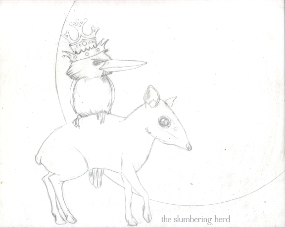 6 - Kingfisher and Mouse Deer Sketch6