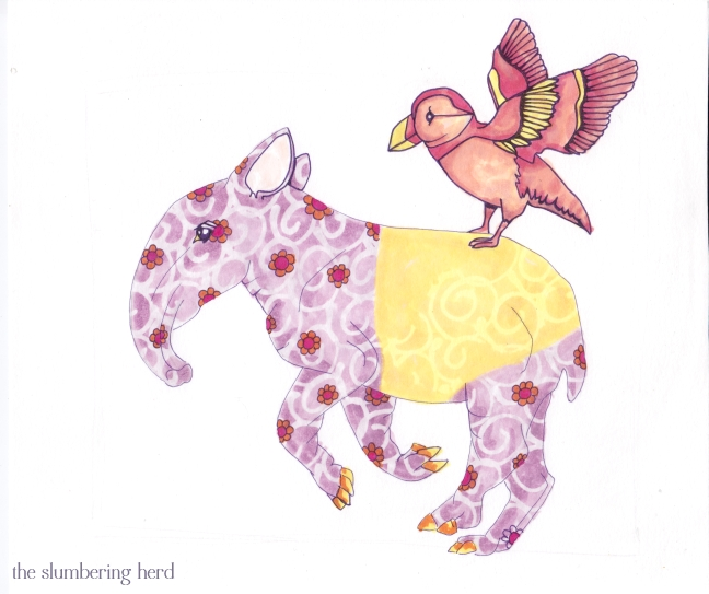 8 - Running Tapir with Puffin Flowers
