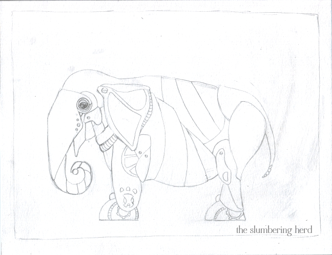 02 Steampunk Elephant with Cat Sketch2