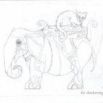 04 Steampunk Elephant with Cat Sketch4