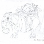 06 Steampunk Elephant with Cat Sketch6