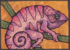 "Strange Chameleon Two, 2.5"" x 3.5"" Copics"