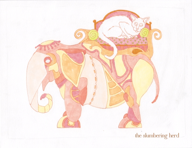 08 Steampunk Elephant with Cat Ink2