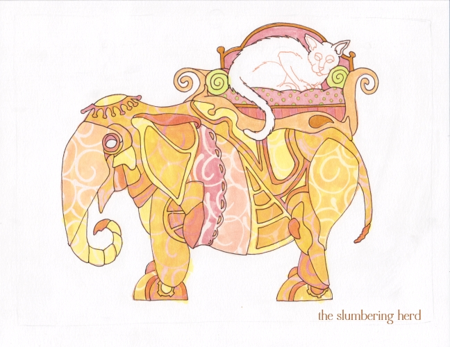 10 Steampunk Elephant with Cat Ink2