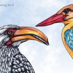 Yellow-Billed Hornbill and Stork-Billed Kingfisher, Copic Markers, digital sky