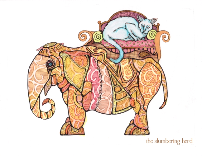 13 Steampunk Elephant with Cat Ink5
