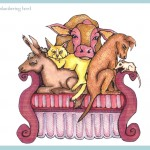Cow, Donkey, Cat Dog, Shrew on Couch in Copics 8 x 10