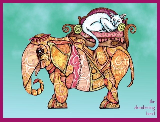 16 Steampunk Elephant with Cat digital background