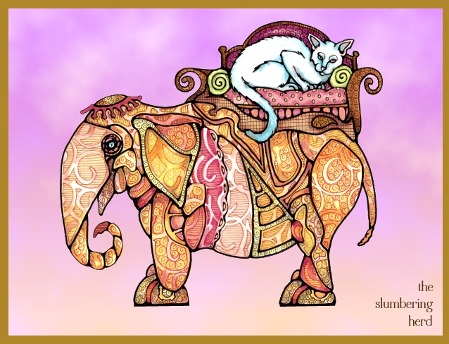 17 Steampunk Elephant with Cat digital background2