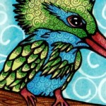 "Green Crested Kingfisher ATC, 2.5"" x 3.5"" Copics"