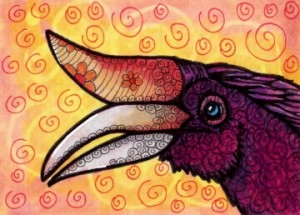 "Purple Rhinoceros Hornbill, 2.5"" x 3.5"" Copic markers and fine liners"