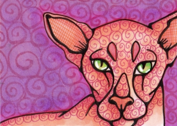 Purple Peach Peterbald Cat Original ATC