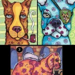 "Three ATCs for Whimsical Dogs SwapEach 2.5"" x 3.5"" Copics, fine liners, white gel pen on bristol board."