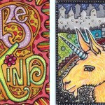 "Be Kind & Blacklight Unicorn Llama2.5"" x 3.5"" Artist Trading Cards, Copic markers, ink, white gel pen"