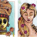 Bee Maiden ATC and Bee Girl envelope art.