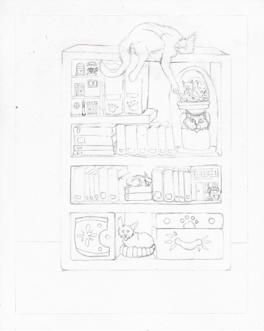 03 Books and Cats Sketch3
