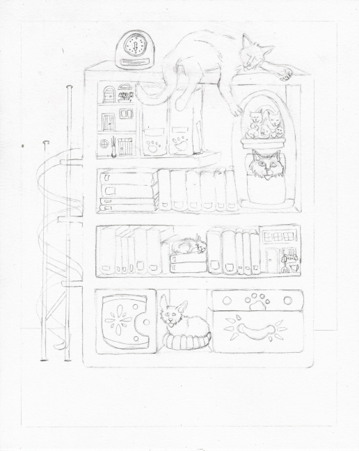 04 Books and Cats Sketch4