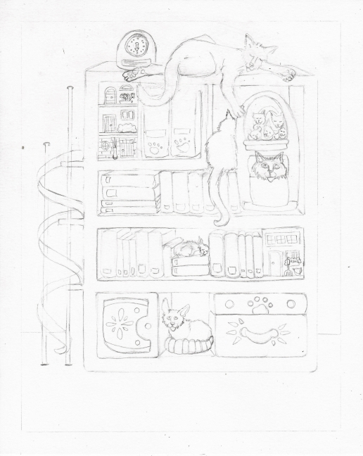 05 Books and Cats Sketch5
