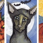 Lydia with Pumpkins, Moon Cat, &amp; Cat with Pumpkin