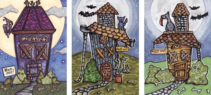Three Spooky House ATCs