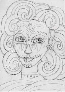 01 Blue Gray Sugar Skull Girl Sketch1