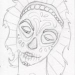 01 Teal Lavender Sugar Skull Girl Sketch1