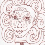 02 Blue Gray Sugar Skull Girl Ink1