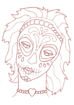 02 Teal Lavender Sugar Skull Girl Ink1
