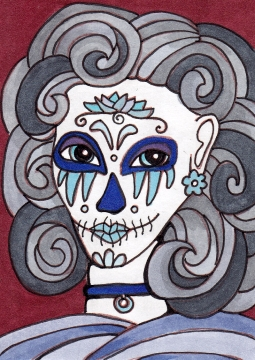 03 Blue Gray Sugar Skull Girl Color1