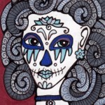 04 Blue Gray Sugar Skull Girl Ink2