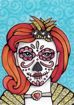 05 Orange Crush Sugar Skull Girl