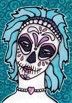 05 Teal Lavender Sugar Skull Girl