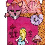 "Alice and Cheshire Cat, 9"" x 6""