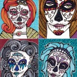 Four Calavera Girl ATCs