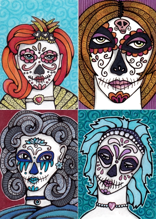 Four Calavera Girls