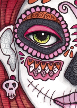 "Jillian Calavera2.5"" x 3.5"" ATC, Copic markers."