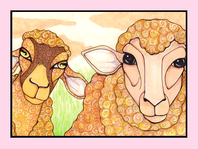16 Two Woolly Sheep, digital frame