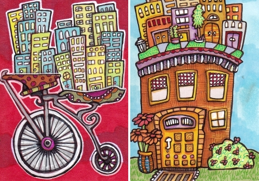 Two Cityscapes Bike and House
