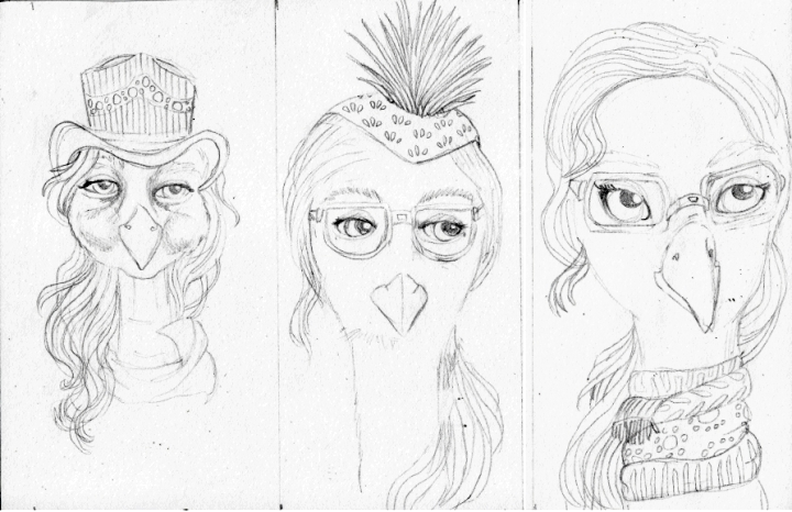 bird girl sketches