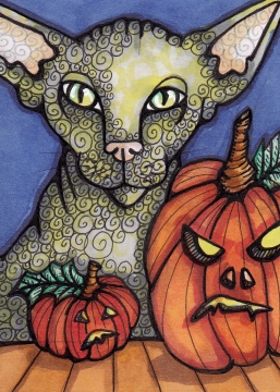 07 Lydia with Pumpkins ATC