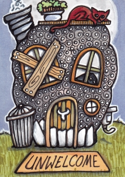 Skull House with Red Cat