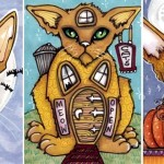 Three Autumn Cat ATCs