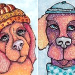 Two Snow Dogs in Hats