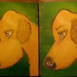 "Hound in Progress, 5"" x 7"" acrylics on canvas board"