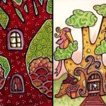 Red Tree Hollow, acrylics, ink, gel pen