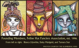 Three Feline Hat Fanciers